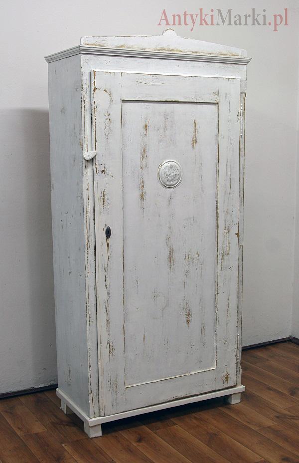 Szafa Chlebowa Bielona Przecierana Vintage